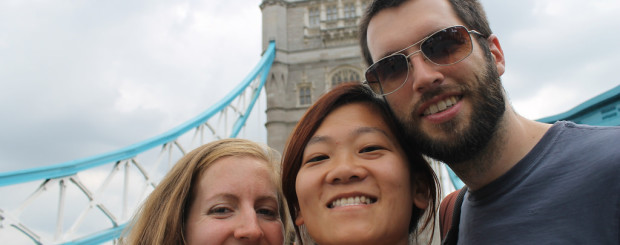 Three Friends in London Selfie