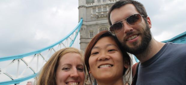 Three Friends in London Selfie