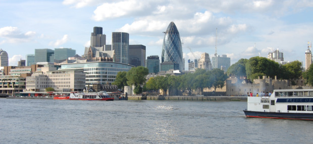 London City skyline and river